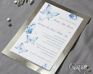 Fluttering Watercolor Butterfly Wedding Invitation, Wedding Menu / Program, Event Invite, Save the Date, Mirror Paper