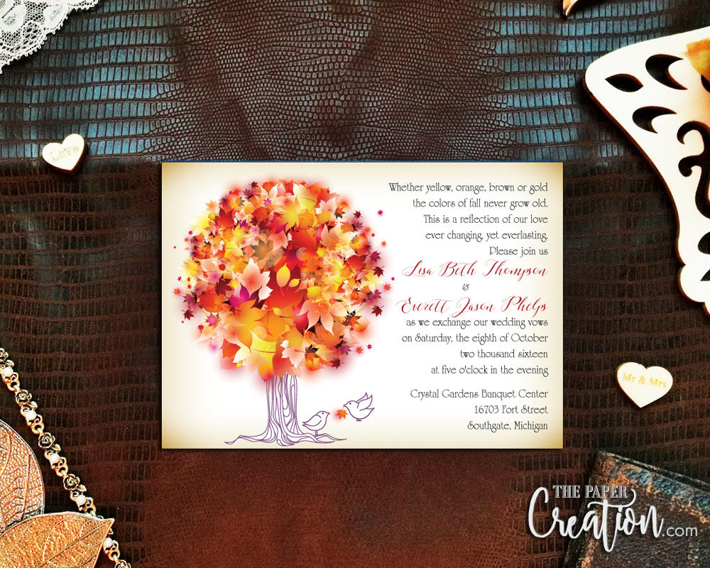 Autumn Tree Digital Printable Invitation