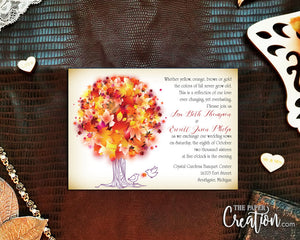 Autumn Tree Digital Printable Rustic Fall Leaves Birds Wedding Invitation, Save the Date, Bridal Shower Invite, Brown, Orange, Red