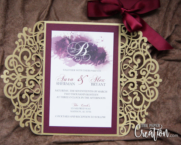 Burgundy Gold Laser Cut Wedding Invitation