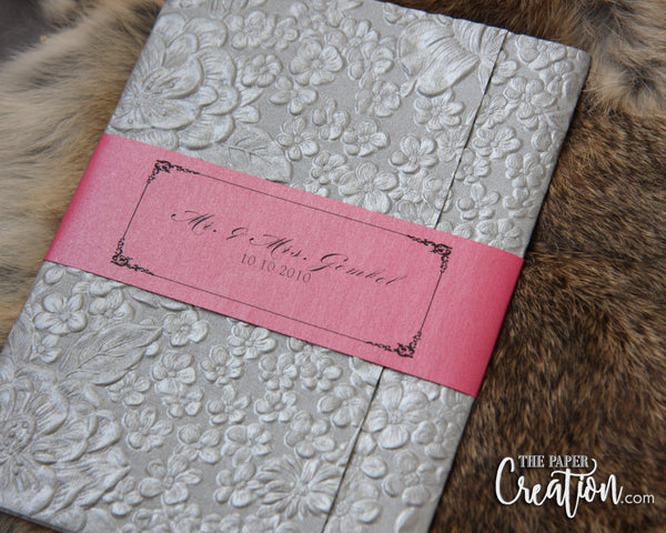 Silver Floral Garden Embossed Wedding Invitation, Belly Band, Luxury Unique Handmade Paper Invite, Fuschia
