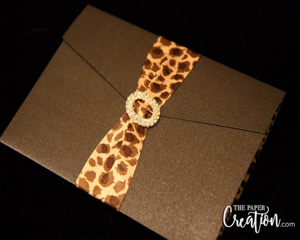 Leopard Animal Print 40th Pocket Birthday Invitation, Forty and Fabulous Party Invite Card, Surprised 40 for Women