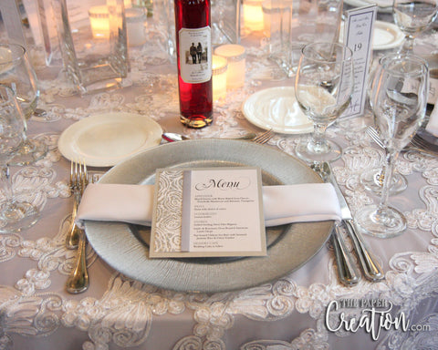 Silver Rose Glitter Wedding Menu Card