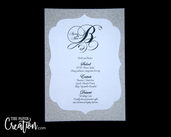 Silver Glitter Wedding Menu Card, Calligraphy, Custom Shimmery Modern Luxury Unique Design