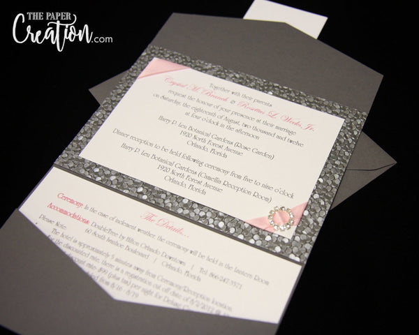 Silver Pebble Embossed Pocketfold Wedding Invitation, Luxury Rhinestone Buckle Pocket Invite, Gray / Pink, Bridal Shower Invite
