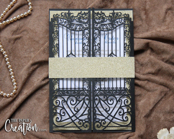 Black Gate Glitter Laser Cut Wedding Invitation, Gatefold Belly Band Invitations, Luxury Royal Laser Cut Invitation, Birthday Lasercut