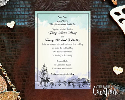Nautical Watercolor Printable Digital Wedding Invitation