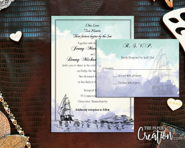 Nautical Watercolor Printable Digital Wedding Invitation Design with Blue, Ship, Sailing, Sailboat, Lighthouse Hand Drawn, Save the Date