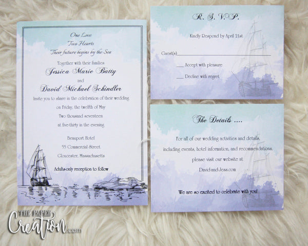 Thermography Printing Nautical Watercolor Wedding Invitation, Destination, Save the Date, Ship, Sailing, Sailboat, Lighthouse Hand Drawn