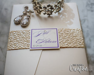 Ivory Pebble Embossed Wedding Invitation