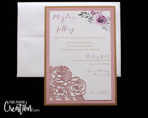 Blush Rose Bouquet Laser Cut Wedding Invitation