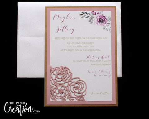 Blush Rose Bouquet Laser Cut Wedding Invitation, Floral Invite, Elegant Roses Flower Design, Bridal Shower, Birthday