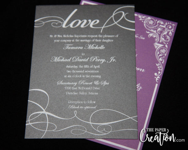 Modern White Ink Wedding Invitation