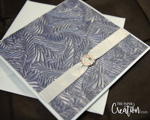 Metallic Shimmery Blue Leaf Pattern Embossed Wedding Invitation Pocketfold with Rhinestone Buckle, Handmade Paper, Luxury Bridal Shower