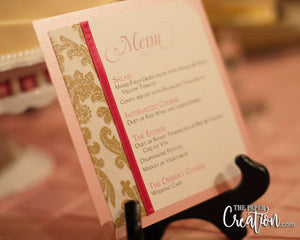 Gold Glitter Damask Wedding Menu Card, Fuchsia Pink Luxury, Calligraphy, Handmade Paper, Birthday Invite