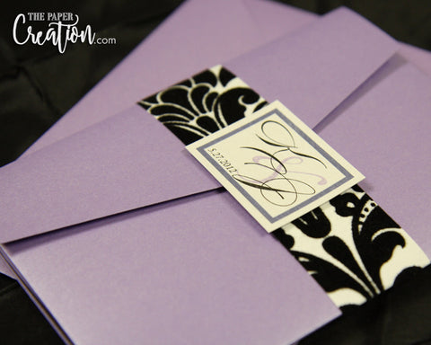 Black Velvet Flocked Damask Pattern Embossed in Purple Pocketfold Wedding Invitation, Lavender Plum Lilac, Luxury Birthday Invite