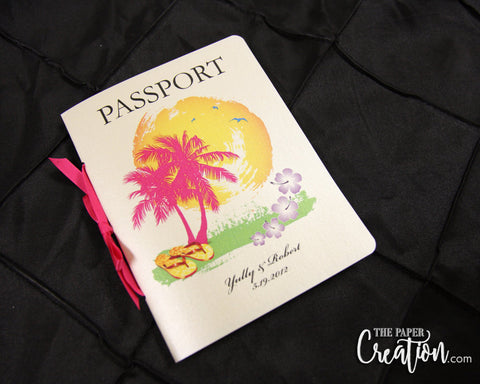 Tropical Beach Palm Passport Wedding Invitation