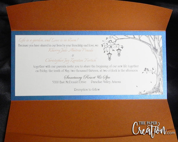 Rustic Tree Wedding Invitation in Copper Pocketfold, Birds, Lanterns, Save the Dates, Shabby Chic, Vintage, Birthday