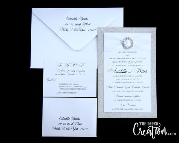 Silver Glitter Wedding Invitation