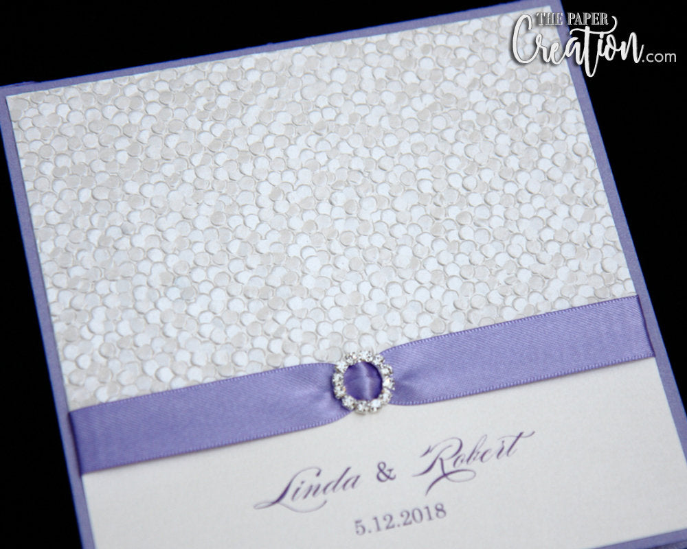 Embossed Wedding Invitation, Ivory Pebbel Embossed, Lavender Ribbon, Purple Invitation, Save the Date, Bridal Shower, Birthday