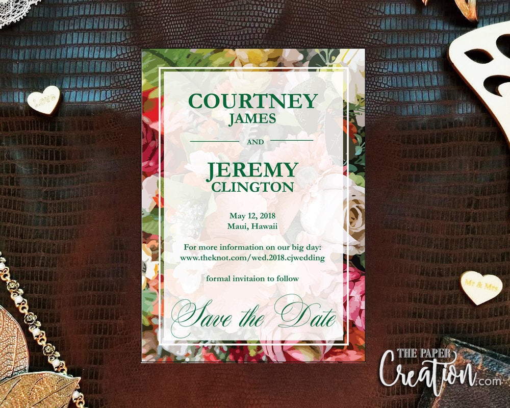 Tropical Garden Save the Date Printable Digital