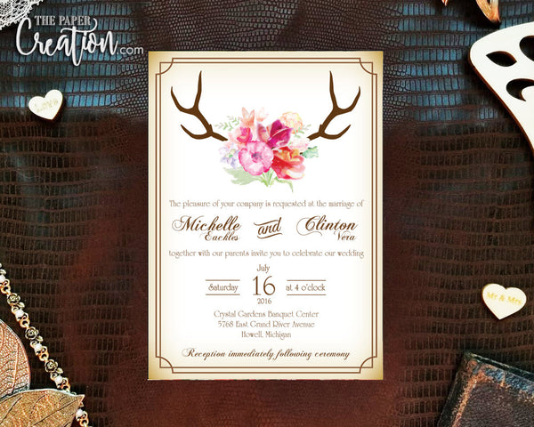 Rustic Deer Antler Printable Digital Invitation