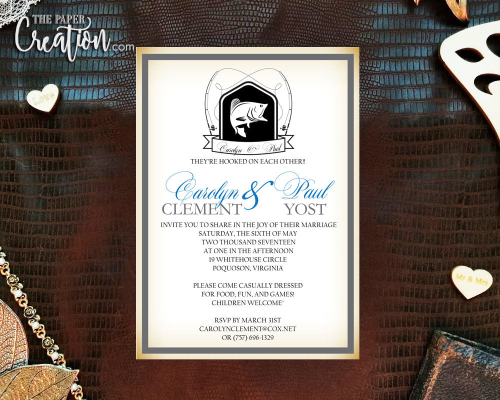Fishing Printable Digital Wedding Invitation, Hooked On Love Romanic Save the Date, Rehearsal Dinner, Bridal Shower Invite