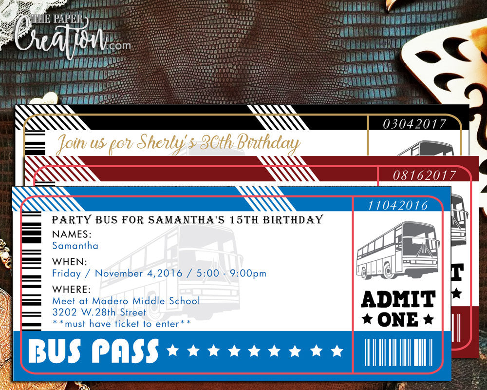 Bus Ticket Printable Digital Invitation