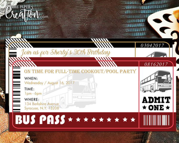 Bus Ticket Printable Digital Birthday Invitation, Save the Date, Bridal Shower, Rehearsal Dinner, Bus Pass Wedding Invite