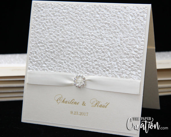 Ivory Pebble Embossed Wedding Invitation, Folded Pocket Invite, Rhinestone Buckle Luxury Elegant Unique Champagne Gold