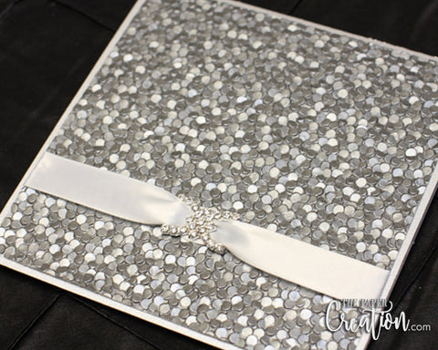 Silver Pebble Embossed Wedding Invitation, Folded Pocket Invite, Rhinestone Buckle Luxury Elegant Unique Pewter