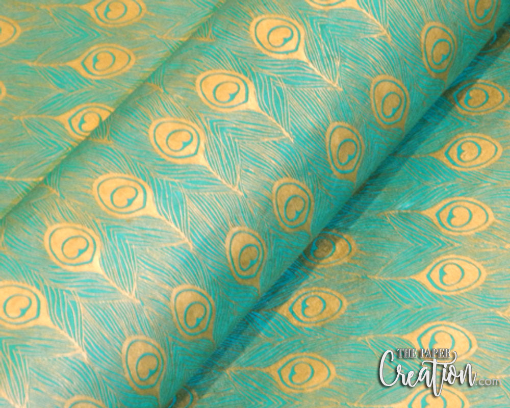 LOKTA Golden Peacock Feather Hand-Made Decorative Paper Gold On Teal Green Color, DIY Project, Craft, Invitation