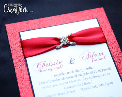 Red Glitter Luxury Invitation