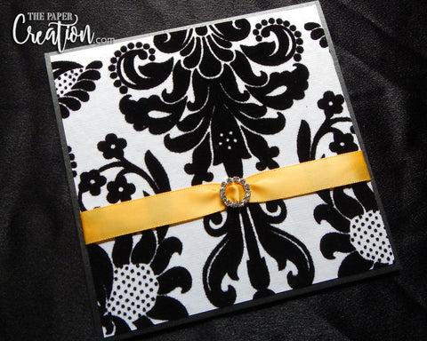 Damask Felt Embossed Wedding Invitation, Pocket Invite, Rhinestone Buckle Luxury Elegant Pattern Invite, Yellow Black