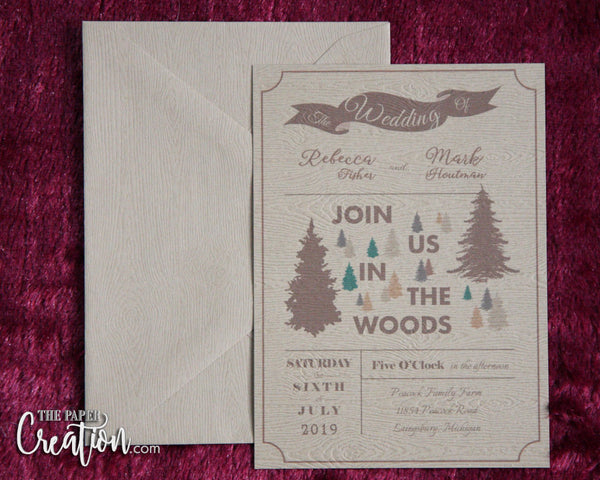 Woodland Wedding Invitation on Woodgrain Paper, Rustic Trees Invitation, In The Woods Invite, Save the Date Card, Shower, Birthday