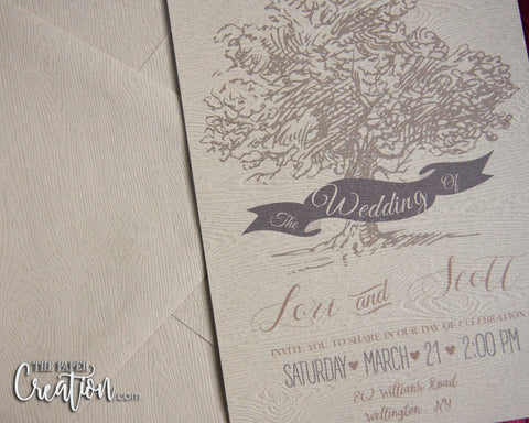 Tree Theme Design Save the Date Card on Woodgrain Paper, Rustic Cheap Trees Wedding Invitation, Shower, Birthday Invite