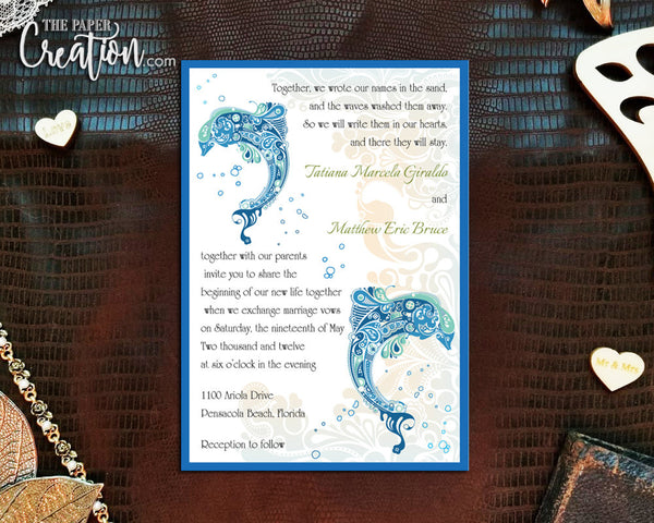 Abstract Dolphins Printable Digital Wedding Invitation
