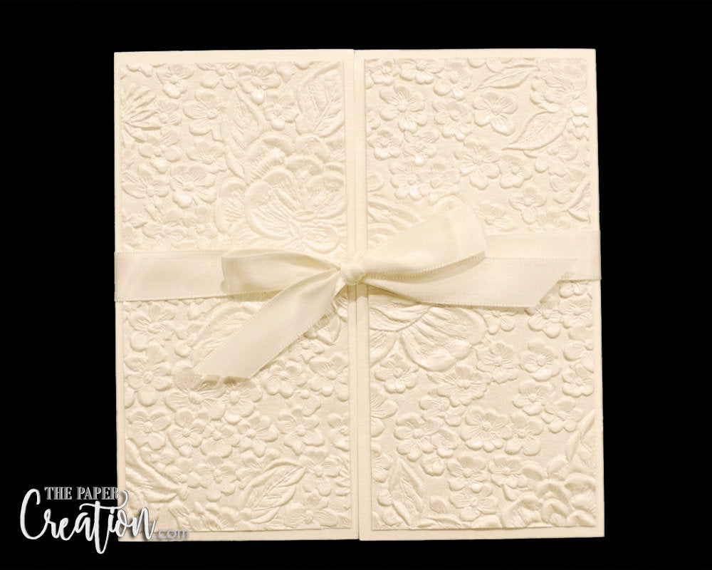 Ivory Floral Embossed Wedding Gate Fold Invitation, Luxury Elegant Unique Handmade Invite