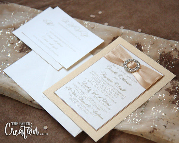 Champagne Glitter Wedding Invitation