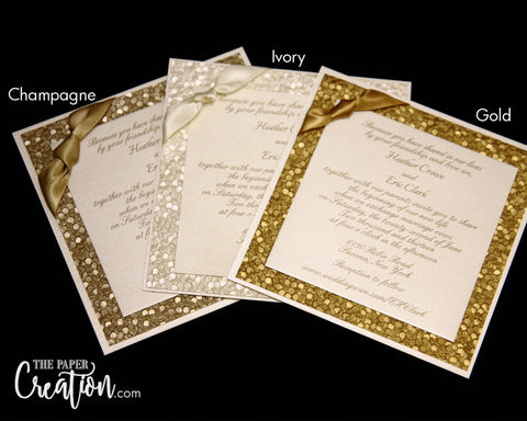 Pebble Embossed Square Wedding Invitation, Ivory Champagne Gold Silver Luxury Elegant Unique Invite
