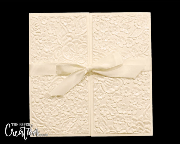 Champagne Pebble Embossed Wedding Gatefold Invitation, Luxury Elegant Unique Handmade Invite, Ivory Gold