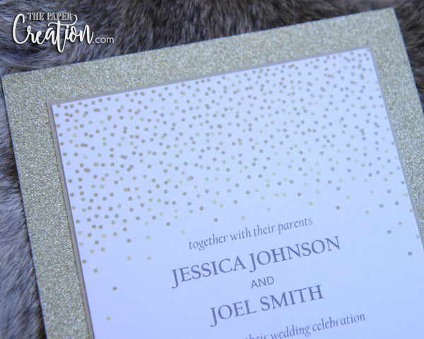 Gold Glitter Dots Wedding Invitation