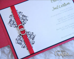 Double Circle Rhinestone Buckle Wedding Invitation