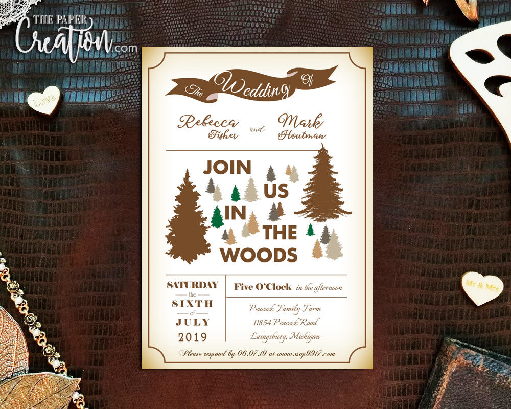 Rustic Woodland Printable Digital Wedding Invitation, Outdoor Invites, Bridal Shower, Save The Date, Destination Invite, Trees In The Woods