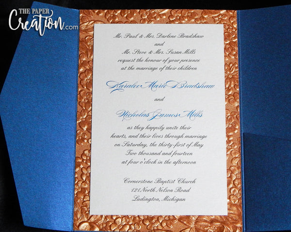Garden Embossed Pocketfold Wedding Invitation, Luxury Unique Handmade Paper Invite, Copper Navy Gold