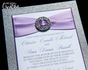 Silver Glitter Purple Wedding Invitation