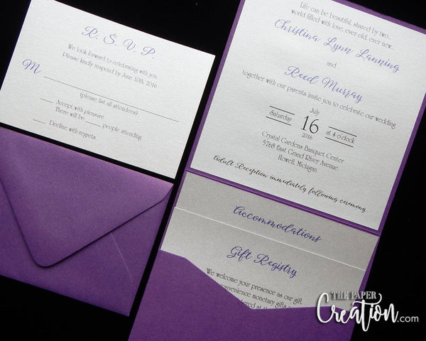Silver Pebble Embossed Wedding Invitation, Pocket Invite, Rhinestone Buckle Luxury Elegant Unique Purple Lavender, Handmade Paper