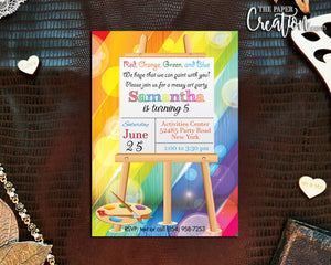 Painting Art Party Printable Digital Birthday Invitation Design, Gilrs Slumber Paint Invite, Personalized, Paint Brush Easel