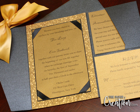 Gold Pebble Embossed Wedding Pocketfold Invitation Suite in Ribbon Bow, Luxury Elegant Belly Band Pocket Invites, Handmade Paper
