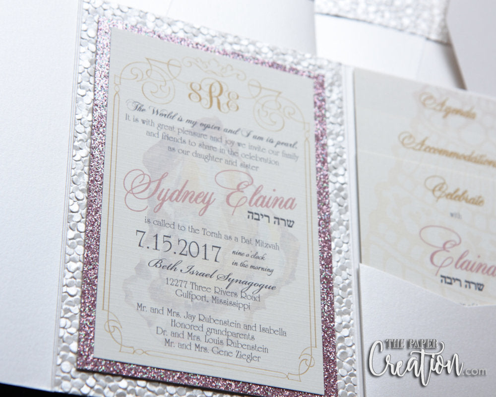 Ivory Pebble Embossed Pocketfold Glitter Invitation